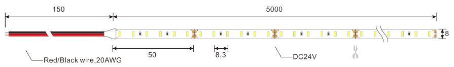 3014 120leds 12v led strip lights dimension