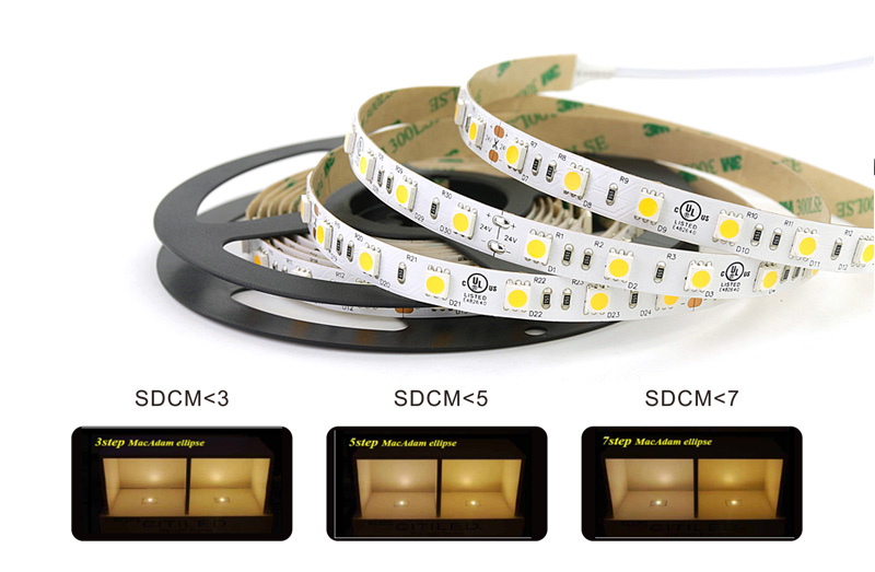 5050 led strip lights color consistency 3 step color tolerance control