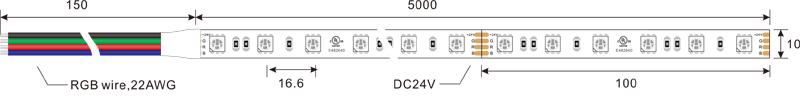 5050 60leds 24v rgb led strip lights dimension