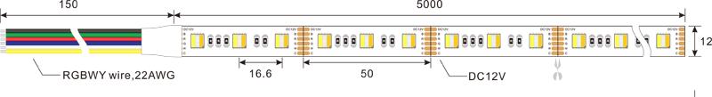 5050 RGBCCT 60leds 12v led strip lights dimension