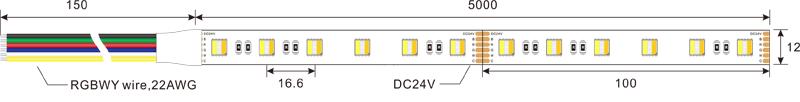5050 RGBCCT 60leds 24v led strip lights dimension