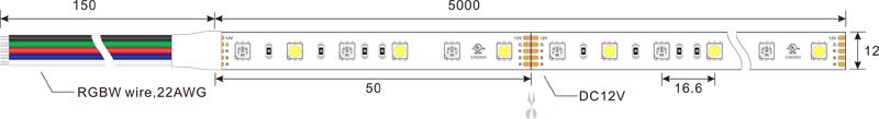 5050 60leds 12v rgb+w led strip lights dimension