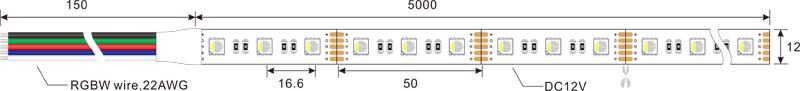 5050 60leds 12v rgbw led strip lights dimension