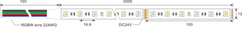 5050 60leds 24v rgbw led strip lights dimension