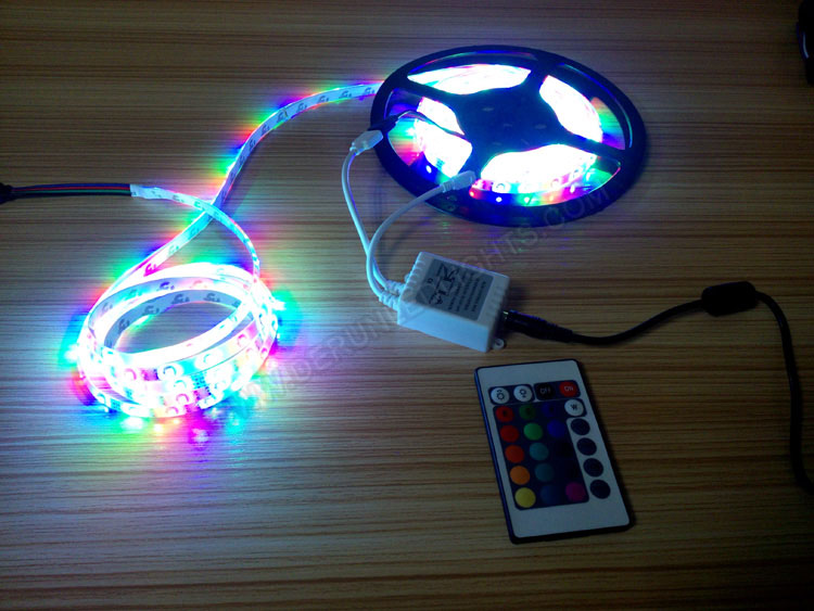 3528 24W 12V 300 Diodes 16.4ft Roll RGB IP65 LED Strip with IR24 Remote Controller