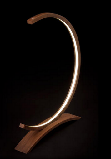 work of art -led strip light and wood