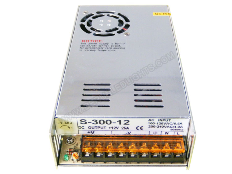12v 25A 300W aluminum body led driver in 2 years warranty