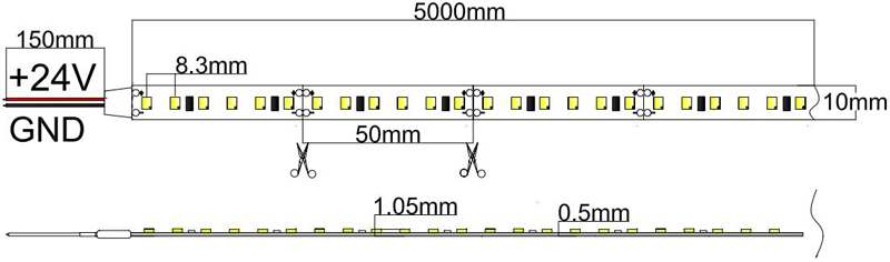 Flexible LED Strip Light with 16.4' 70W 600 Diodes 2835_3