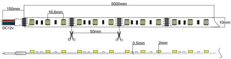 5050-60-12 led strip dimension