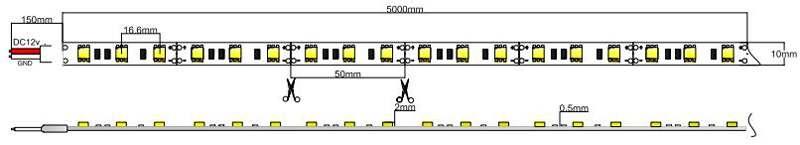 5050-60-12-W led strip dimension