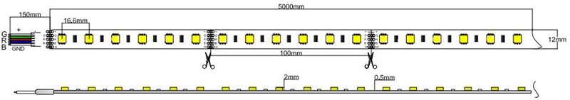 5050-60-24-RGB+W led strip dimension