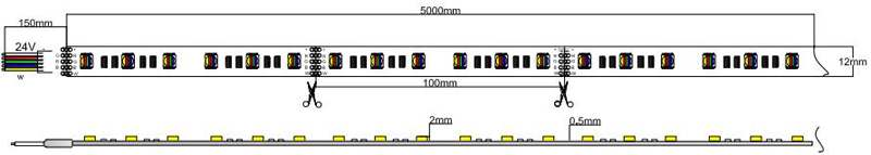 5050-60-24-RGBW led strip dimension
